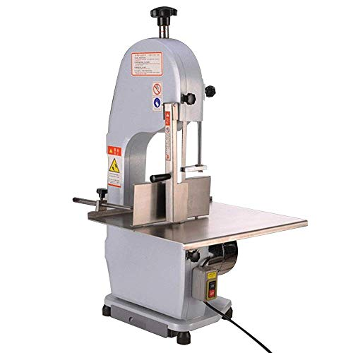 - BMGIANT Electric Bone Cutting Machine Commercial Frozen Meat Slicer Large Table Saw Deli Meat Grinder Butcher Band Saw Blades Mincer Cutter Thickness Adjustable for Restaurant Cut Bone Frozen Beef Meat (1100W)