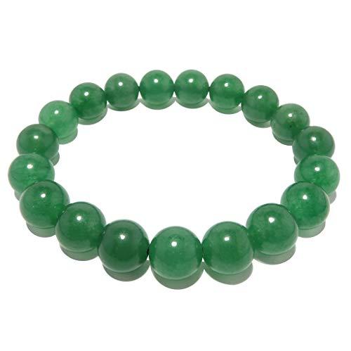 "SatinCrystals Jade Green Bracelet 9mm Boutique Bright Round Gemstone Stretch Handmade Luck Prosperity B01 (6"")"