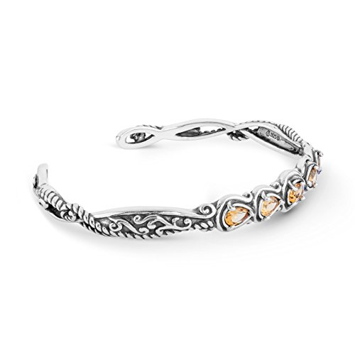 Carolyn Pollack Sterling Silver Yellow-Orange Citrine Gemstone Five Stone Cuff Bracelet Size ()