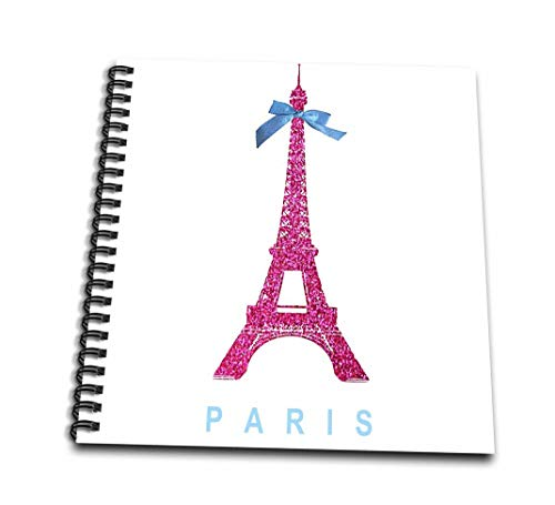Pink Ribbon Spiral Notebook - 3dRose db_112907_2 Hot Pink Eiffel Tower from Paris with Girly Blue Ribbon Bow White Stylish Parisian France Souvenir Memory Book, 12 by 12