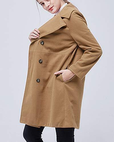 De Long Manteau Et Manteau Col lgant Confortable De Temprament Revers Loisirs Femme Kaki Couleur Unie RqYdrqP