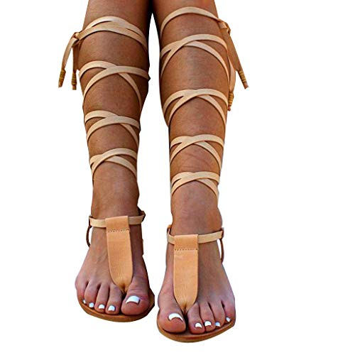 Women Gladiator Sandals Flat,Summer Strappy Lace Up Open Toe Knee High Flat Sandal Yellow