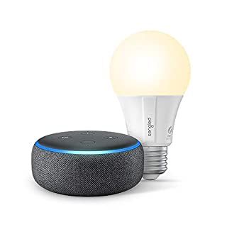 Echo Dot (3rd Gen) - Smart speaker with Alexa - Charcoal with Sengled Bluetooth bulb (Certified for Humans product)