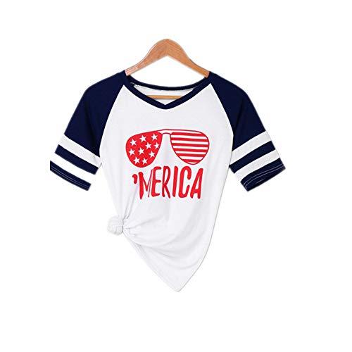 STYQLM Women Sunglasses Print V Neck T Shirt Summer Striped Short Sleeve Tops Summer Shirt Women Shirts Blouse