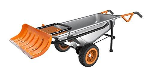 WORX Aerocart Multifunction Wheelbarrow, Dolly and Cart with WA0230 Snow (Plow Cart)