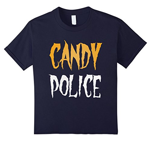 Mommy Daddy Daughter Halloween Costumes (Kids Funny Candy Police Halloween Costume T-shirt 12 Navy)