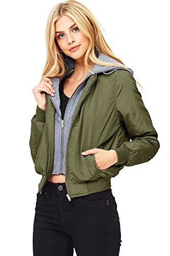Ambiance Womens Padded Hooded Bomber Jacket  S  Olive