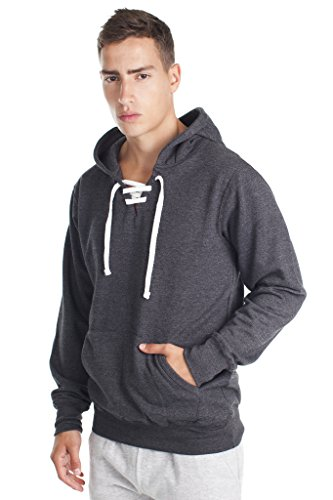 Fleece Factory Mens Hockey Lace up Pullover Sweatshirt Hoodie with Fashion Fit,...
