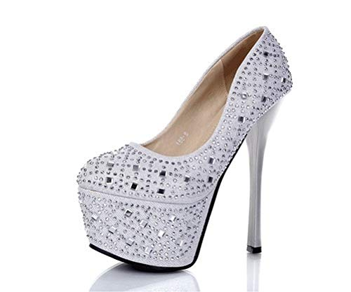 Shoes With Wedding Nightclubs Sexy With High silvery Shallow Single Women'S Mouth Water Shoes Shoes Drill SFSYDDY Water Tables Fine 16Cm Are HqpOZA