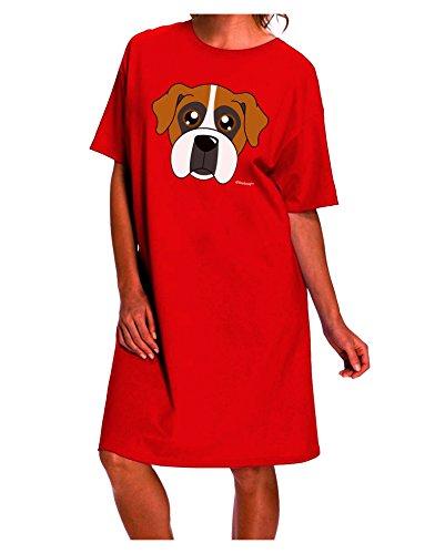 TooLoud Cute Boxer Dog Dark Night Shirt Dress - Red - One Size