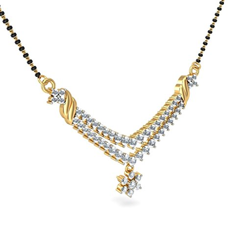 Or jaune 18 K 1.11 carat au total White-diamond (IJ | SI) Mangalsutra