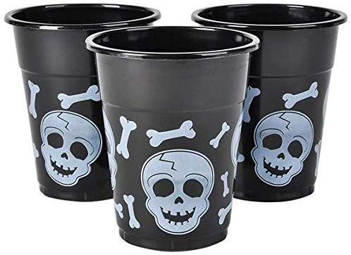 Halloween Party Drinking Glasses (Bulk Pack Halloween Plastic Cups | 50 16 Oz Spooky Black and White Skull and Bone Design | Disposable Party Cups For Halloween Party Supplies Mega Party Pack of 50)