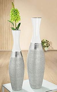 Amazon De Gilde Fiberglas Deko Vase Taupe H 120 Cm