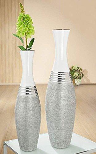 Amazon De Gilde Keramik Bodenvase Lucente Silber Weiss Glas Iert