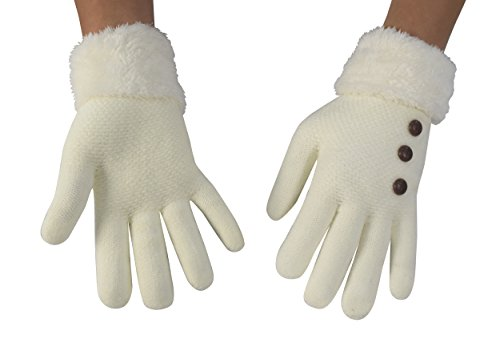 Peach Couture Classic Cable Knit Plush Fleece Lined Double Layer Winter Gloves (One Size, White 06) - Spandex Winter Gloves