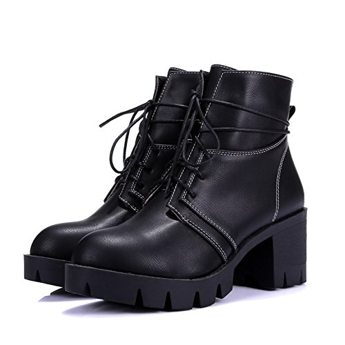 Black up Low Solid Boots AgooLar Lace Kitten Women's Closed Heels Round Toe top xUR7pBHwq