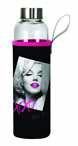 Marilyn Monroe Glass - Spoontiques Marilyn Monroe Glass Bottle with Sleeve, Black