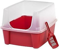 Iris Open parte superior Cat Litter Box Kit con escudo y Scoop, Cuchara de medida, Rojo