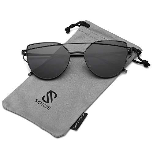 Korean Style Trendy Fashion - SOJOS Cat Eye Mirrored Flat Lenses Street Fashion Metal Frame Women Sunglasses SJ1001 with Black Frame/Grey Lens