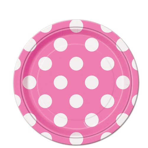 Hot Pink Polka Dot Paper Cake Plates, 8ct