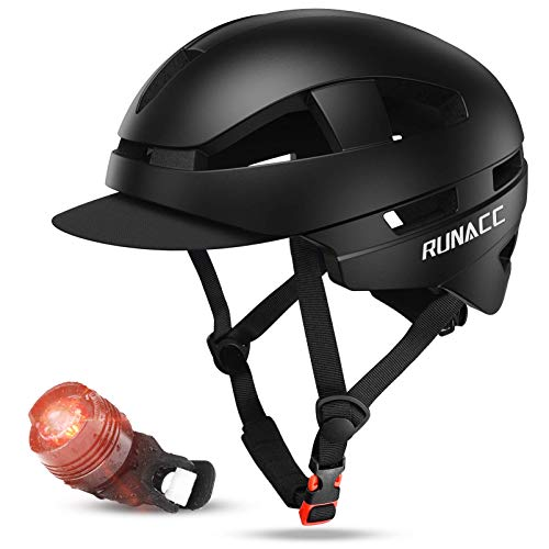 RUNACC Adult Bike Helmet with Bike Tail Light - Adjustable Urban Commuter Bicycle Helmet Men Women with Safety CPSC & CE Certified Lightweight Bike Helmet