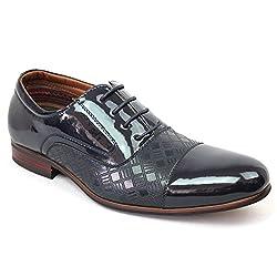 New Men's Cap Toe Two Tone Dress Shoes Lace up Oxfords 19507 (7 U.S (D) M, PATENT BROWN)