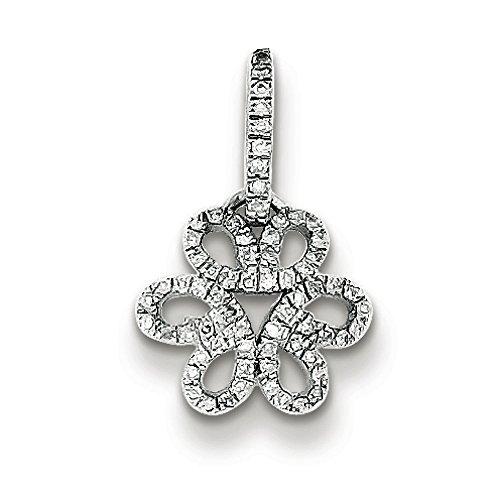Argent Sterling diamant pendentif fleur-JewelryWeb