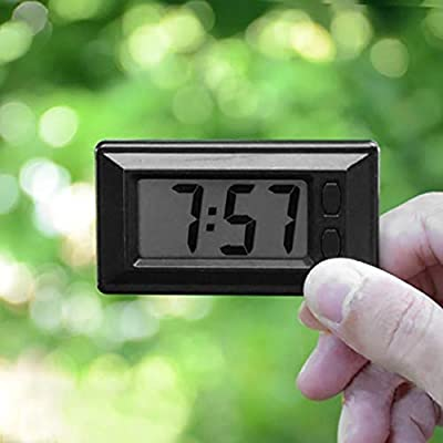 Baynne Ultra-Thin LCD Digital Display Car Vehicle Dashboard Clock with Calendar(Color:Black): Garden & Outdoor