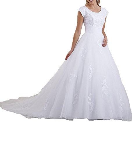 OYISHA Women's Sweep Train Lace Wedding Dresses with Sleeves Bridal Gown WD004 White Customization