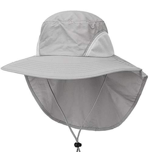 Sami Time Outdoor Sun Hat Wide Brim Mesh Fishing Hat with Neck Flap,Safari Cap with Adjustable Drawstring UPF50+