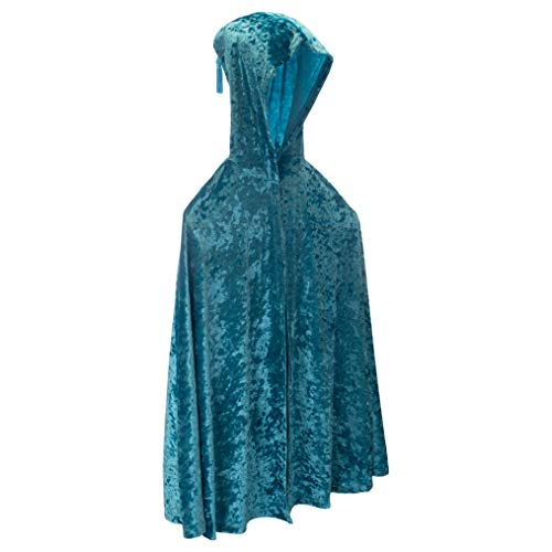Fairy Finery Teal Blue One Size Fits Most Crushed Velvet Children's Cape Costume Accessory ()
