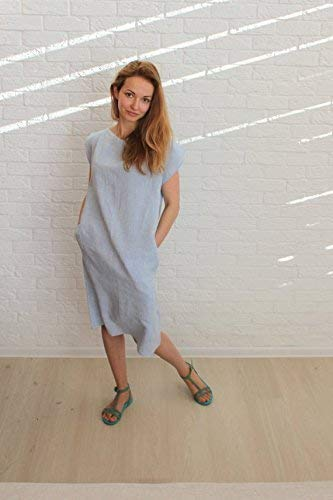Pure Linen Blue Tunic Dress with Buttons - Different Sizes