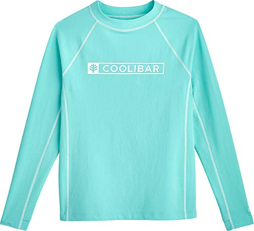 Coolibar UPF 50+ Girl's Logo Surf Rash Guard - Sun Protective (Large- Tropical Mint Swim Logo)