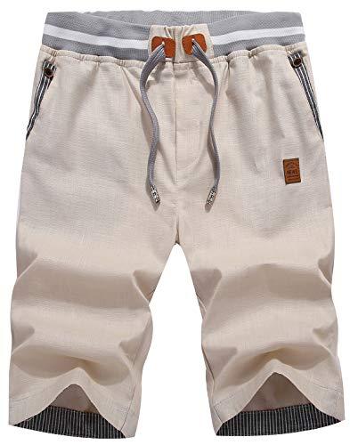 QPNGRP Mens Slim Shorts Drawstring Casual Shorts for Men Khaki 32