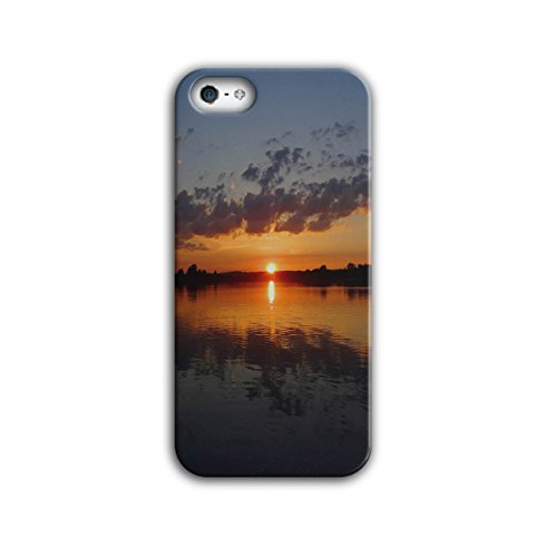 Sunset Lake Photo Nature Case for iPhone, 5 / 5S Lake Non-Slip Cover - Slim Fit, Comfortable Grip, Protective Case by Wellcoda