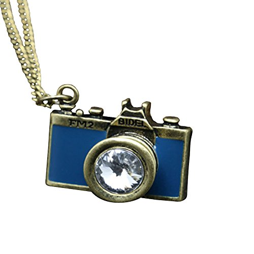 Price comparison product image Acxico Metal Inlay with Crystal Retro Camera Pendant Necklace (Blue)