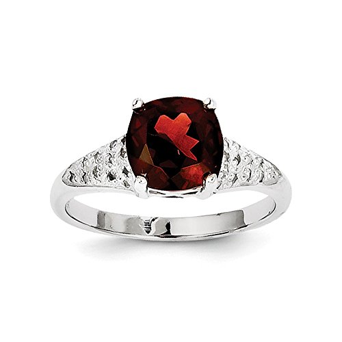 Sterling Silver Rhodium Garnet Diamond Ring by CoutureJewelers