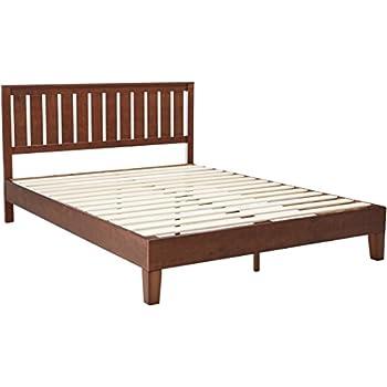 zinus 12 inch deluxe wood platform bed with headboard no box spring needed wood - Wooden Platform Bed Frames