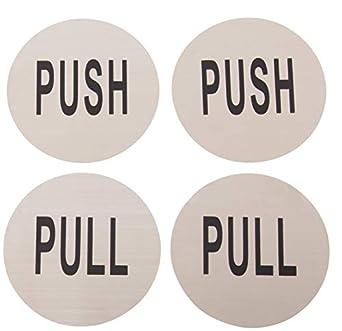 Push Pull - Juego de 4 carteles redondos de acero inoxidable ...