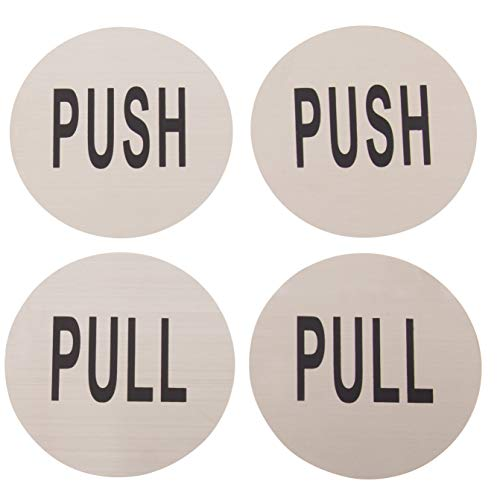 Push Pull Door Sign - 4-Pack Round Stainless Steel Sign Set, Peel and Stick Ideal for Outdoor, Indoor, Restaurant, Office, Shop, with Self-Adhesive ()