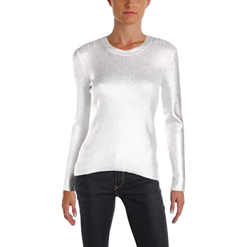 Metallic Ribbed Sweater - Carven Womens Metallic Ribbed Knit Pullover Sweater Silver S
