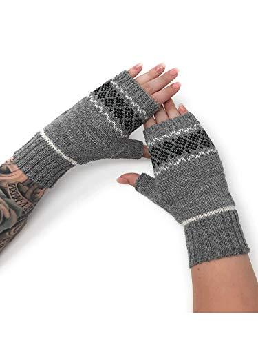 Women's Alpaca Wool Fair Isle Geometric Fingerless Mittens -Texting Gloves - Wrist Hand Arm Warmers