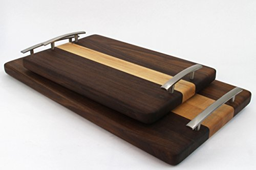 Handcrafted Wood Cutting Board - Edge Grain - Walnut and Maple, No slip, easy grip handles, perfect for breakfast in bed! Serving Tray