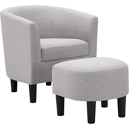 LILOLA Parkins Light Gray Linen Accent Chair with Ottoman