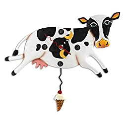 Allen Designs Bessy Cow Whimsical Pendulum Wall Clock
