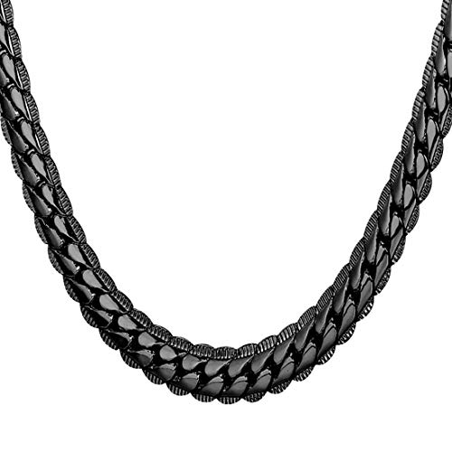 U7 Men & Teen Boys Black Chain Hip Hop Style Jewelry Ion-Plating Black Metal 6MM Wide Snake Chain Necklace, 18 Inch]()