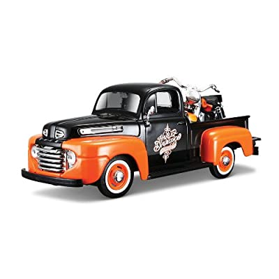 Maisto 1:24 W/B Harley Davidson 1948 Ford F1 Pick UP & FLH Duo Glide 1958: Toys & Games