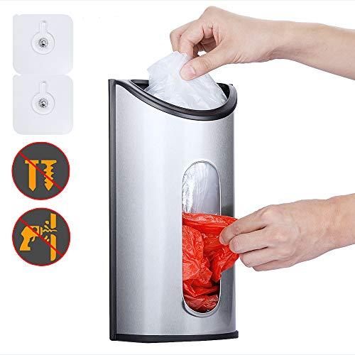 Magdisc Wall Mount Grocery Bag Holder, Bag Dispenser with Extra-Wide & Easy-Access Openings, Anti-Fingerprint Brushed Stainless Steel Finish, Upgraded Self-Adhesive Hanging Nails Included