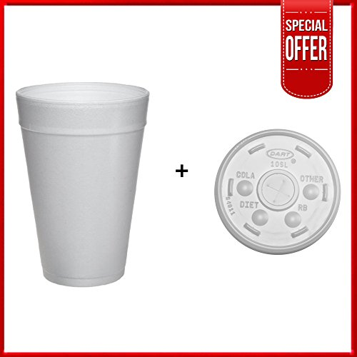 Dart 32TJ32, 32 Oz. Customizable White Foam Plastic Cold And Hot Beverage Cup with Translucent Straw Slotted Lid, Disposable Take Out Drink Cups with Matching Covers (100)
