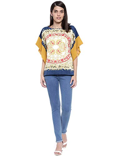 The Kaftan Company Yellow and Blue Printed Kaftan Top for Women (One Size)